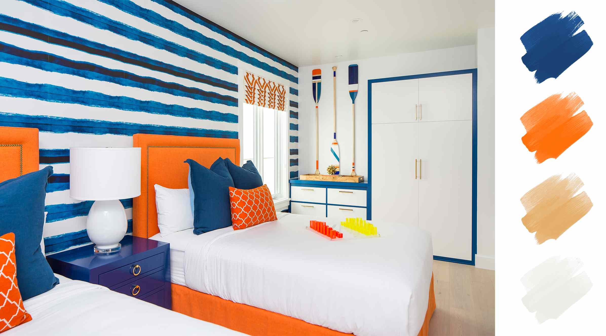 complementary color scheme - orange and blue hotel room
