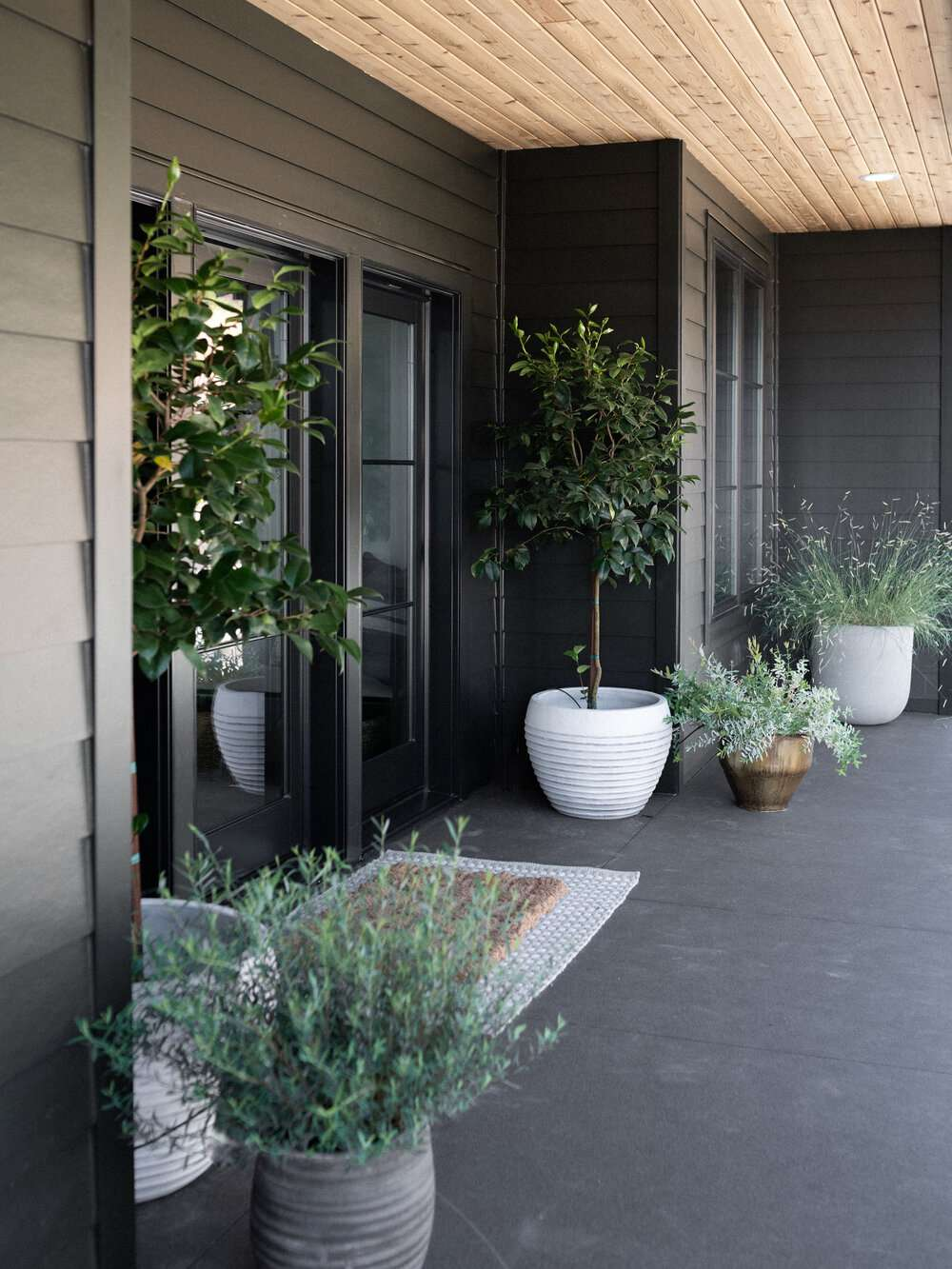 Front porch of home with large potted plants.