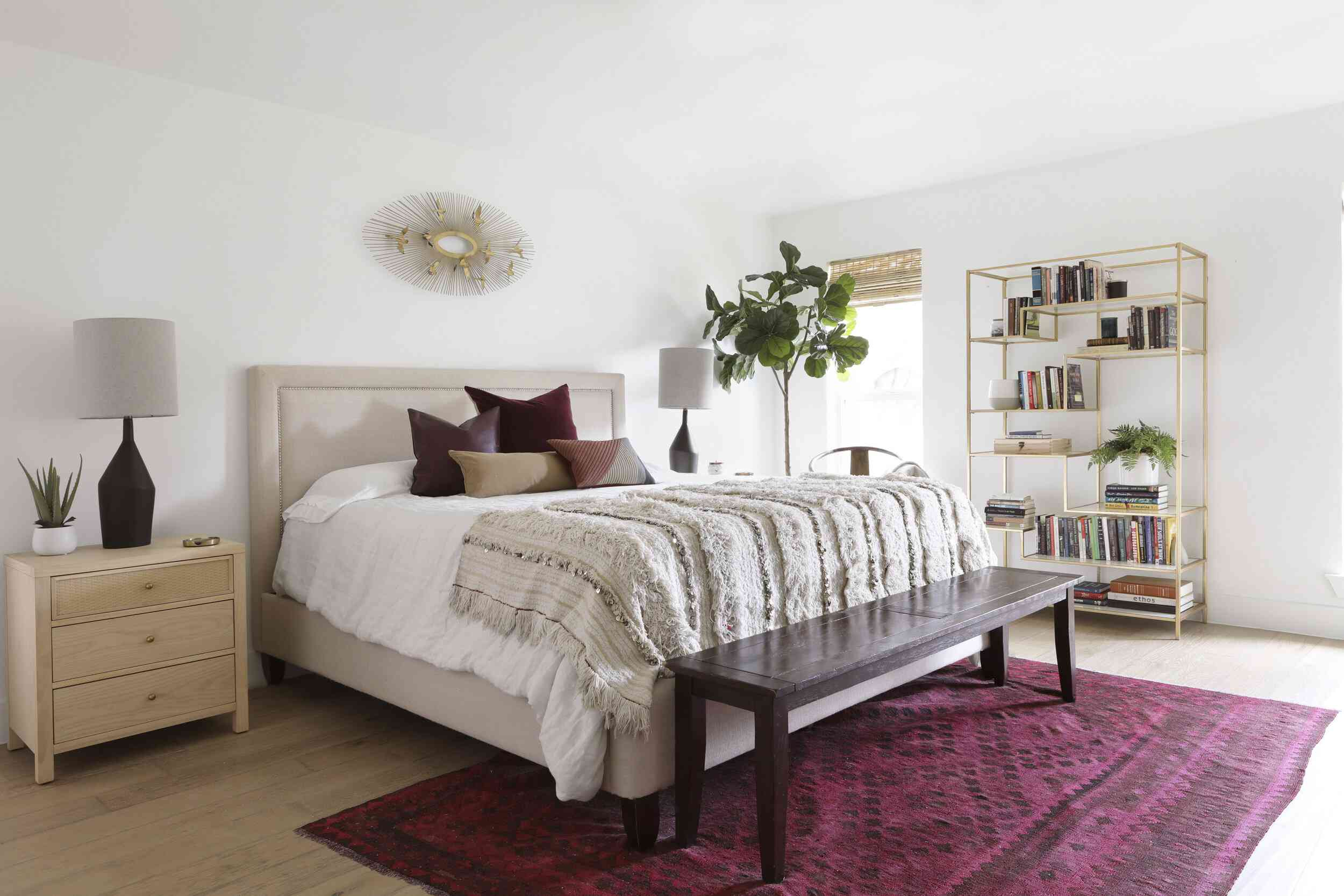 Bedroom with a bookshelf