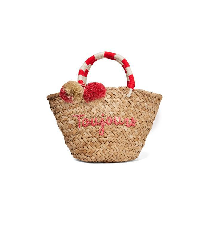 St Tropez Mini Pompom-embellished Embroidered Woven Straw Tote