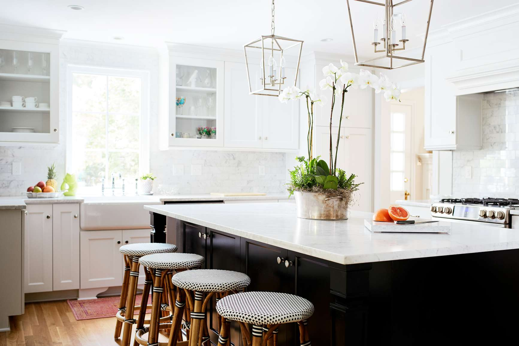 Bright kitchen with orchid