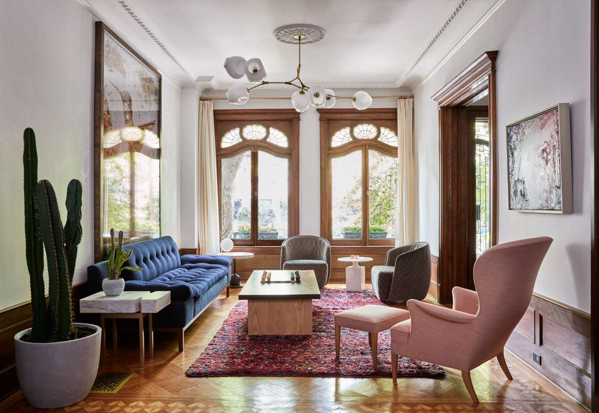 sitting room inside the Park Slope Limestone house in Brooklyn