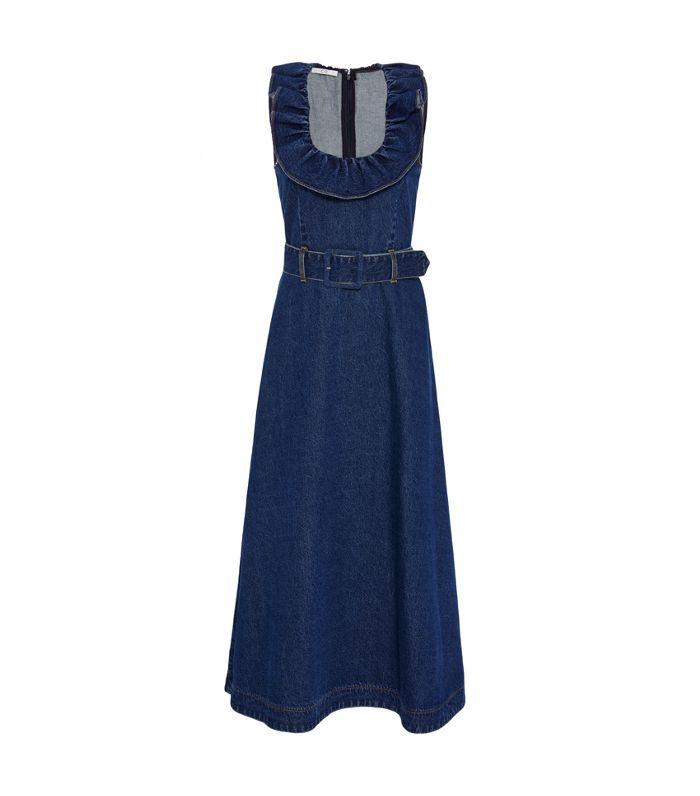 Sleeveless Belted Denim Midi Dress
