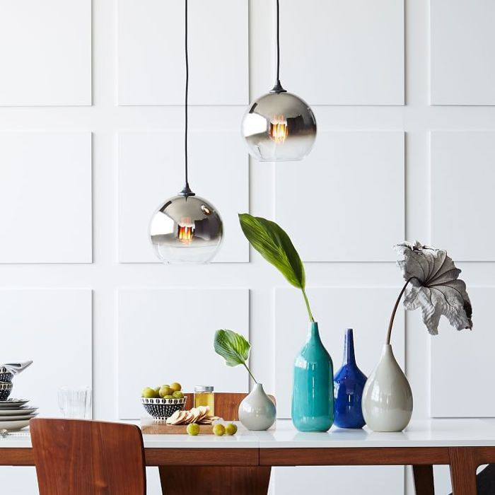 West Elm glass pendant lights