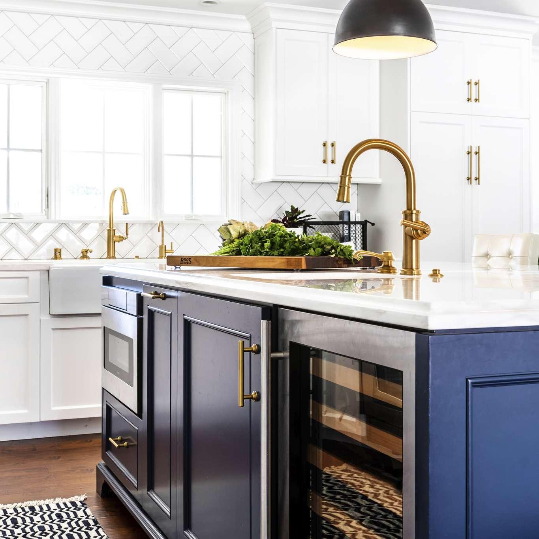 Kitchen island with wine fridge
