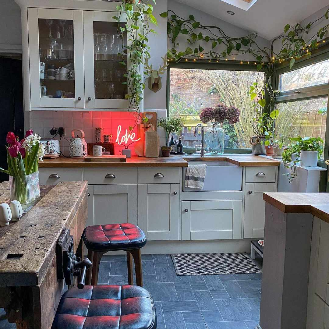 Kitchen with vines and plants