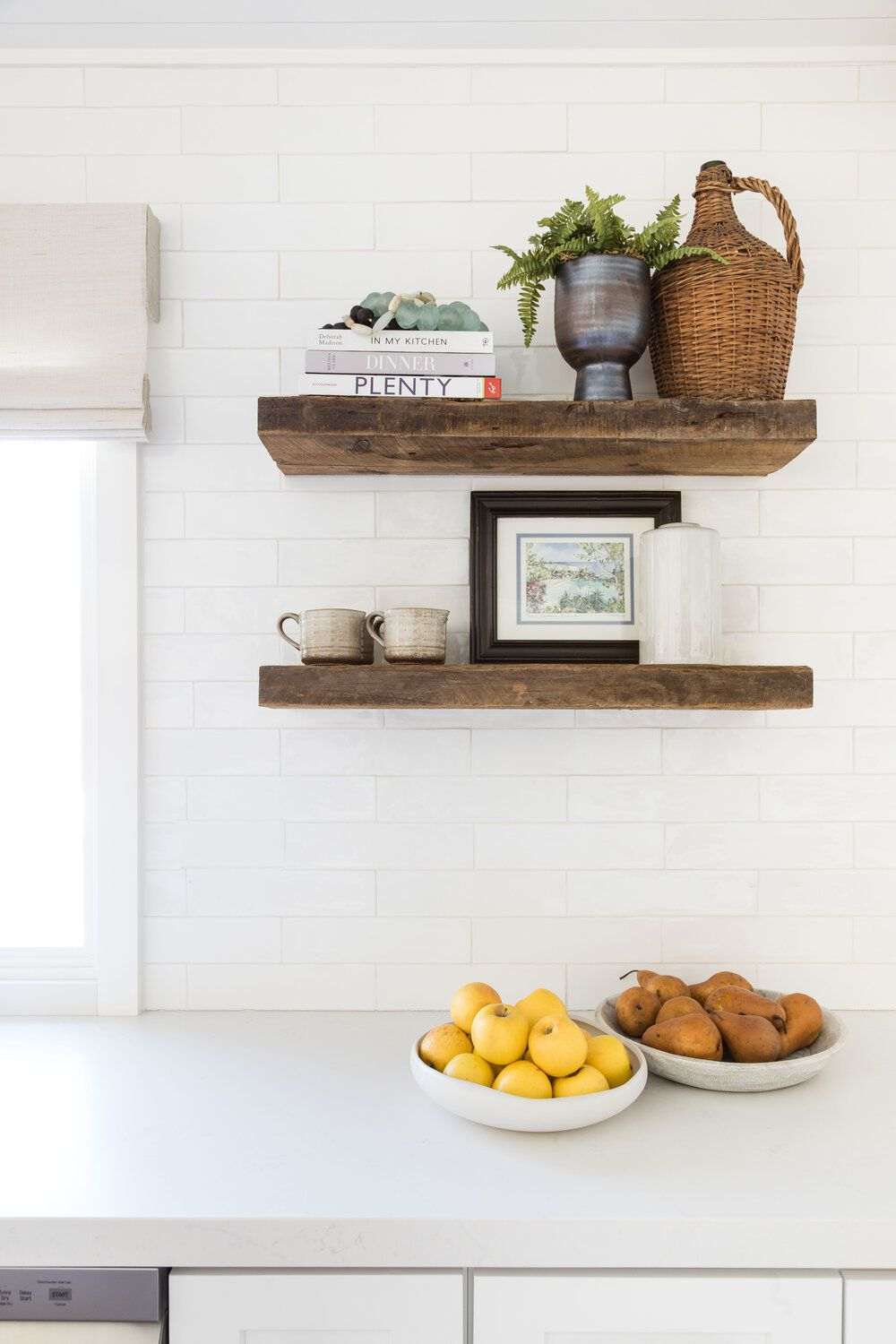 A light-filled kitchen with reclaimed wood cabinets