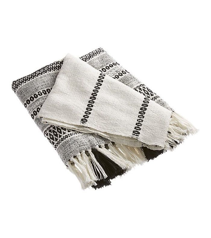 Jema Black and White Throw with Tassels