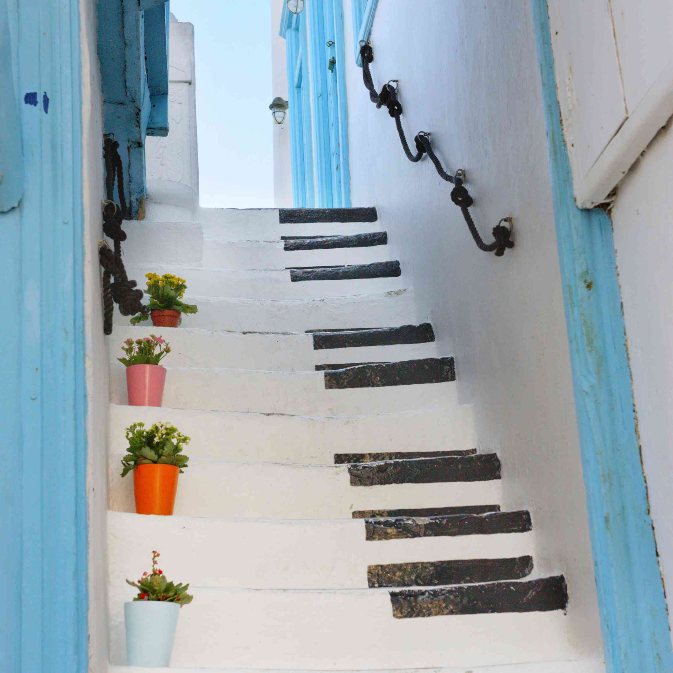 Staircase painted as piano.