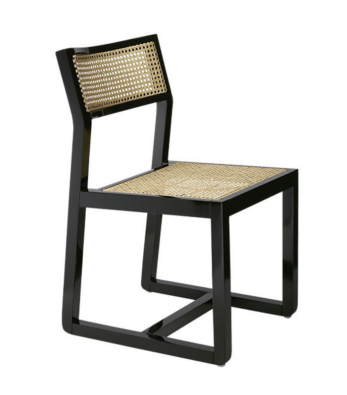 Makan Black Wood and Cane Chair