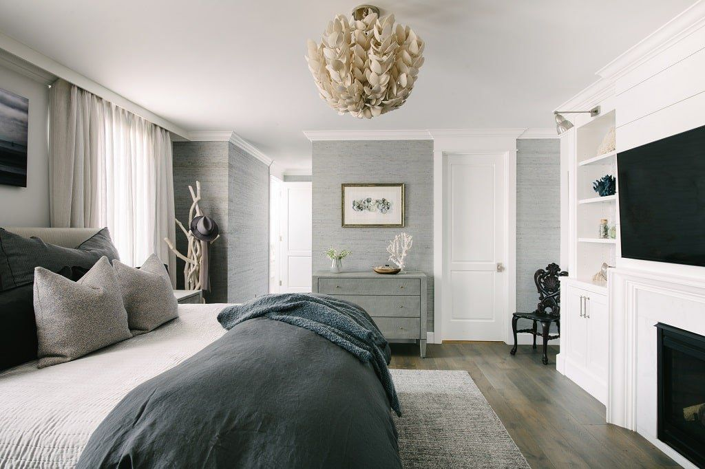 gray bedroom textured wallpaper and bed