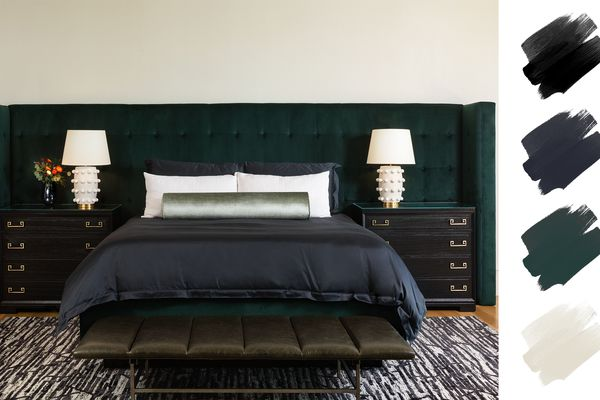 cool color palettes - moody bedroom with emerald headboard and navy accents
