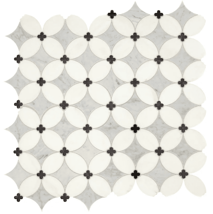A series of print gray tiles, which you can purchase at Build.com