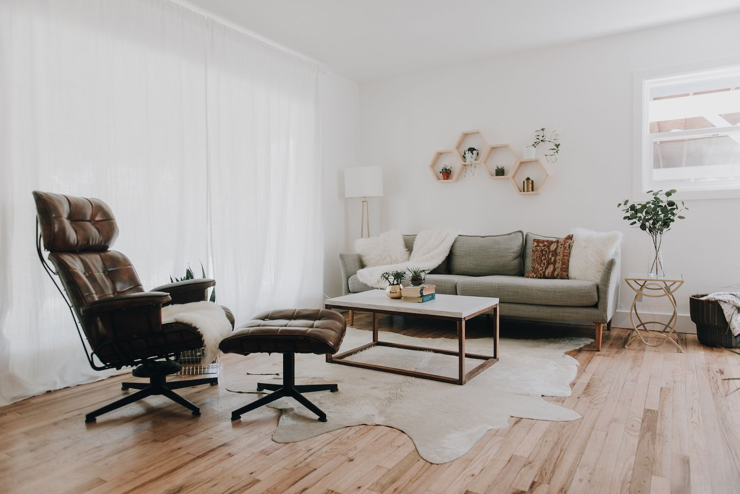 Living room with shelving unit