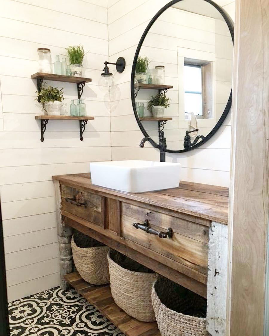 Bathroom with black and white floor