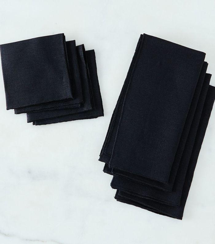 Dot & Army Black Linen Napkins (Set of 4)