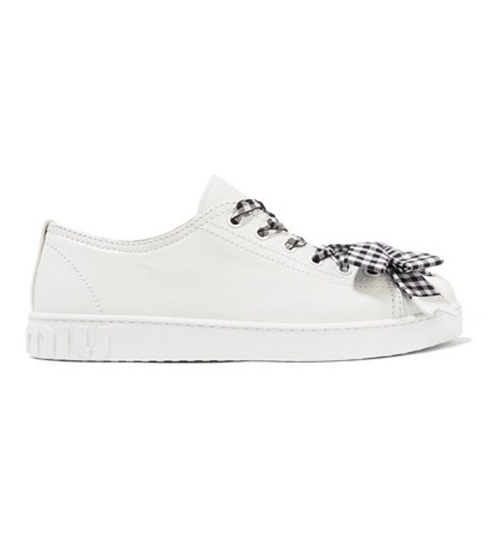 Bow-embellished Leather Sneakers