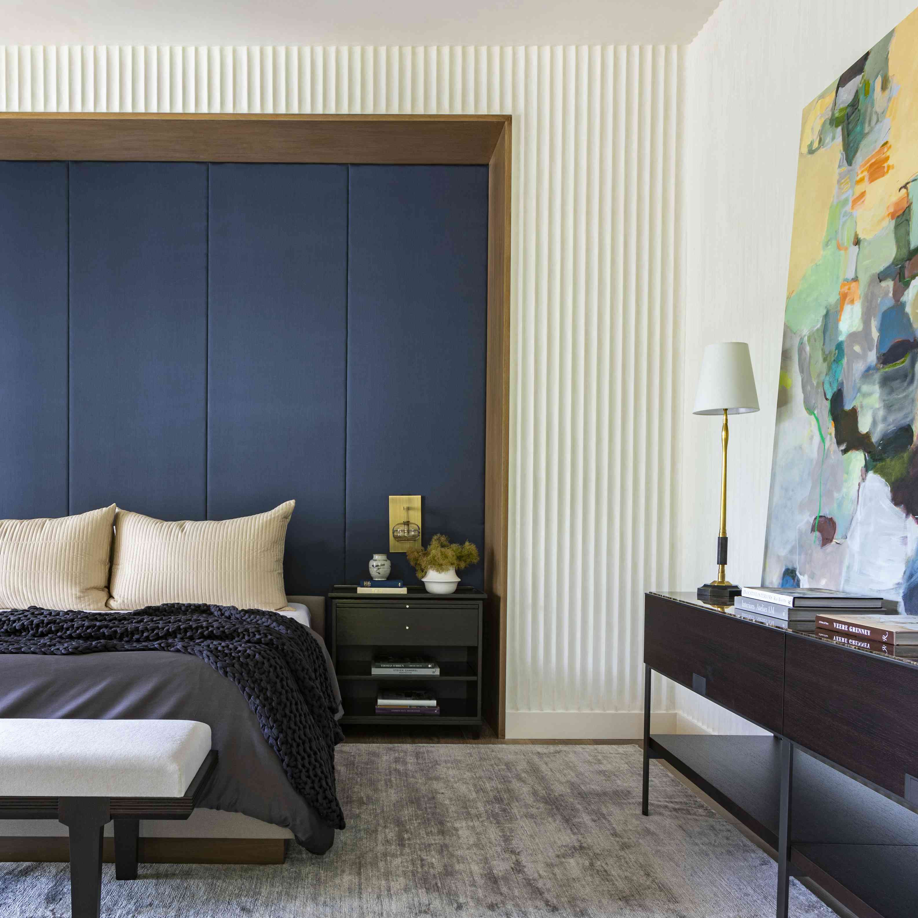 Bedroom with navy fabric panels