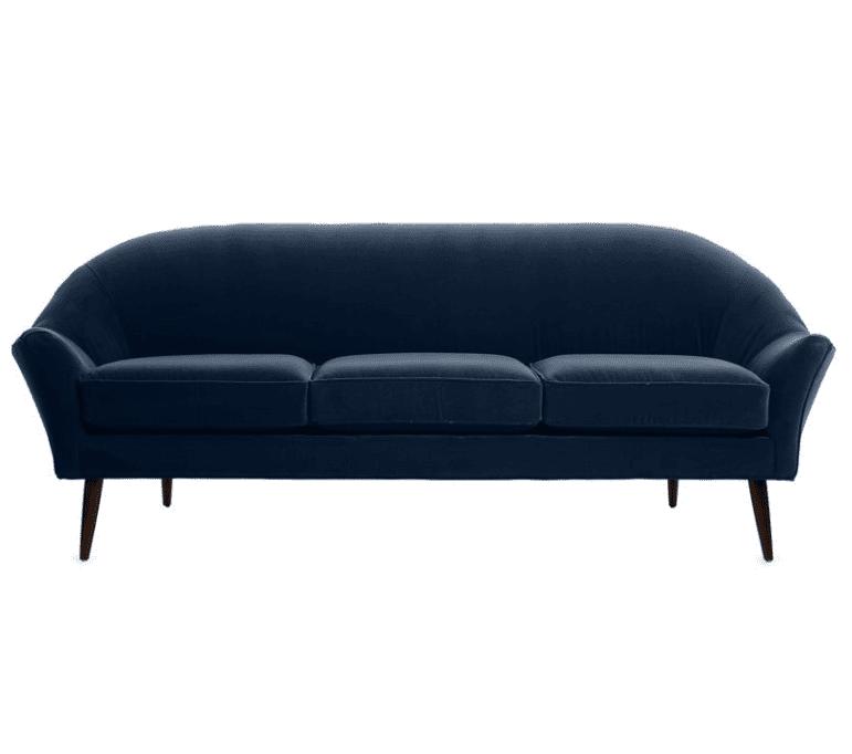 Blair Modern Sofa in Indigo Velvet