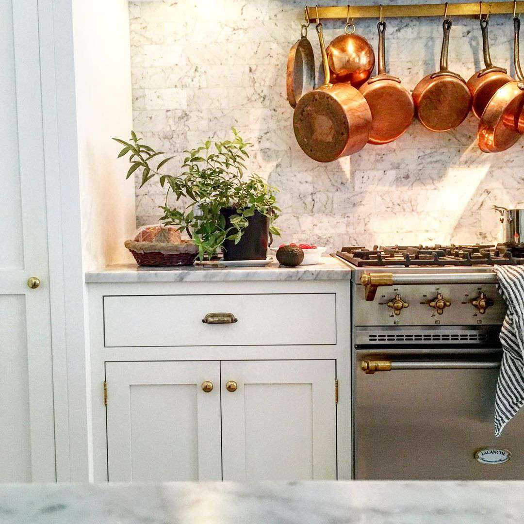 Kitchen with copper pans hanging