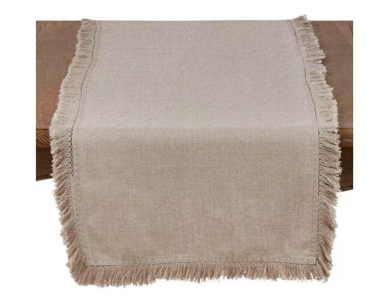 Linen Stonewashed Fringe Table Runner
