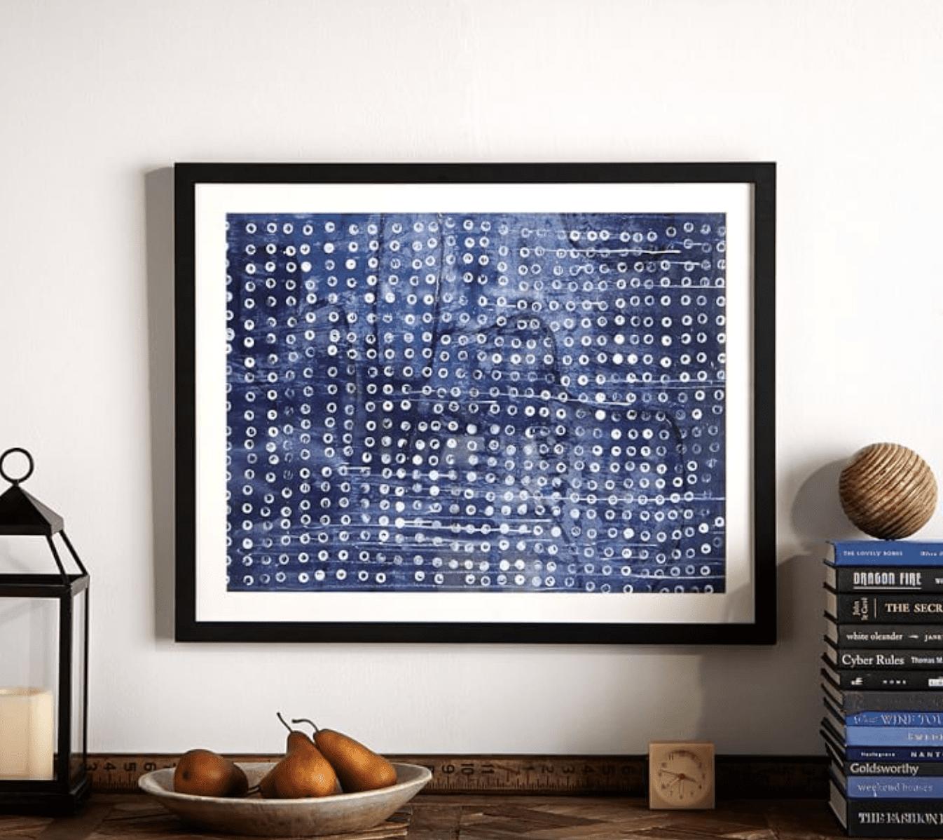 Abstract Indigo Dots Framed Print