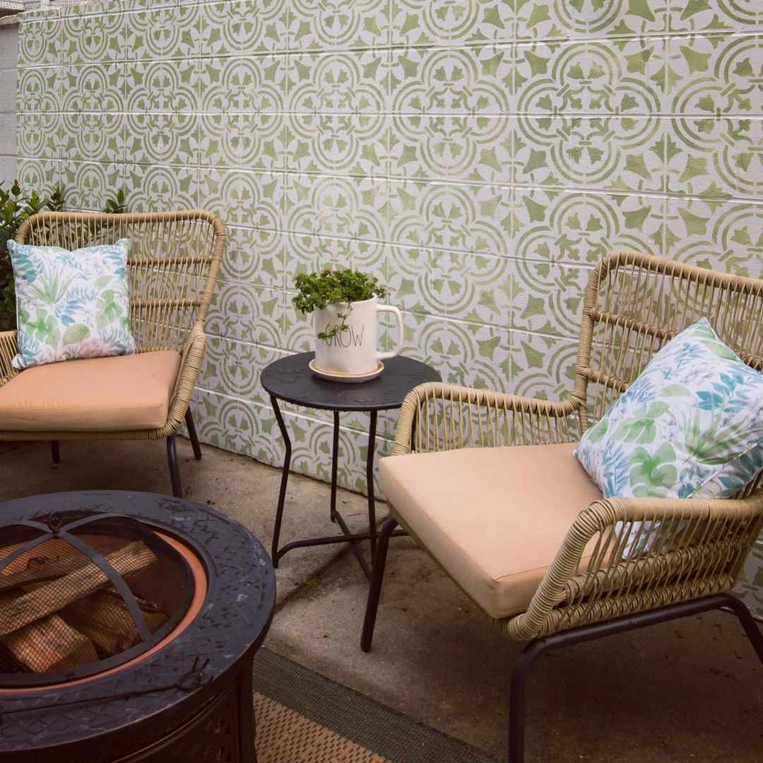 Patio with hand painted tiles