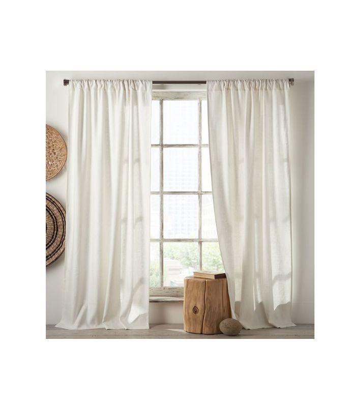Linen Cotton Pole Pocket Curtain + Blackout Panel