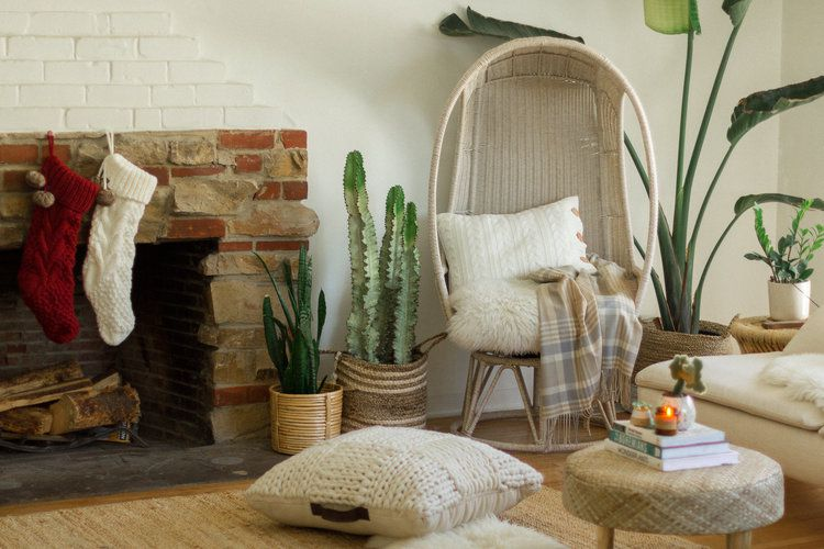 Mixed brick fireplace with stockings.