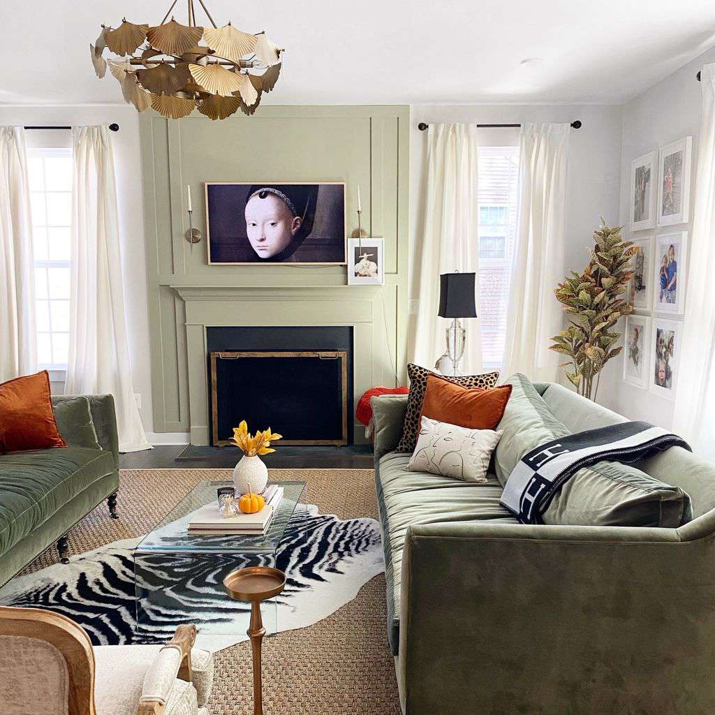 best living room ideas - sage green living room with olive couches