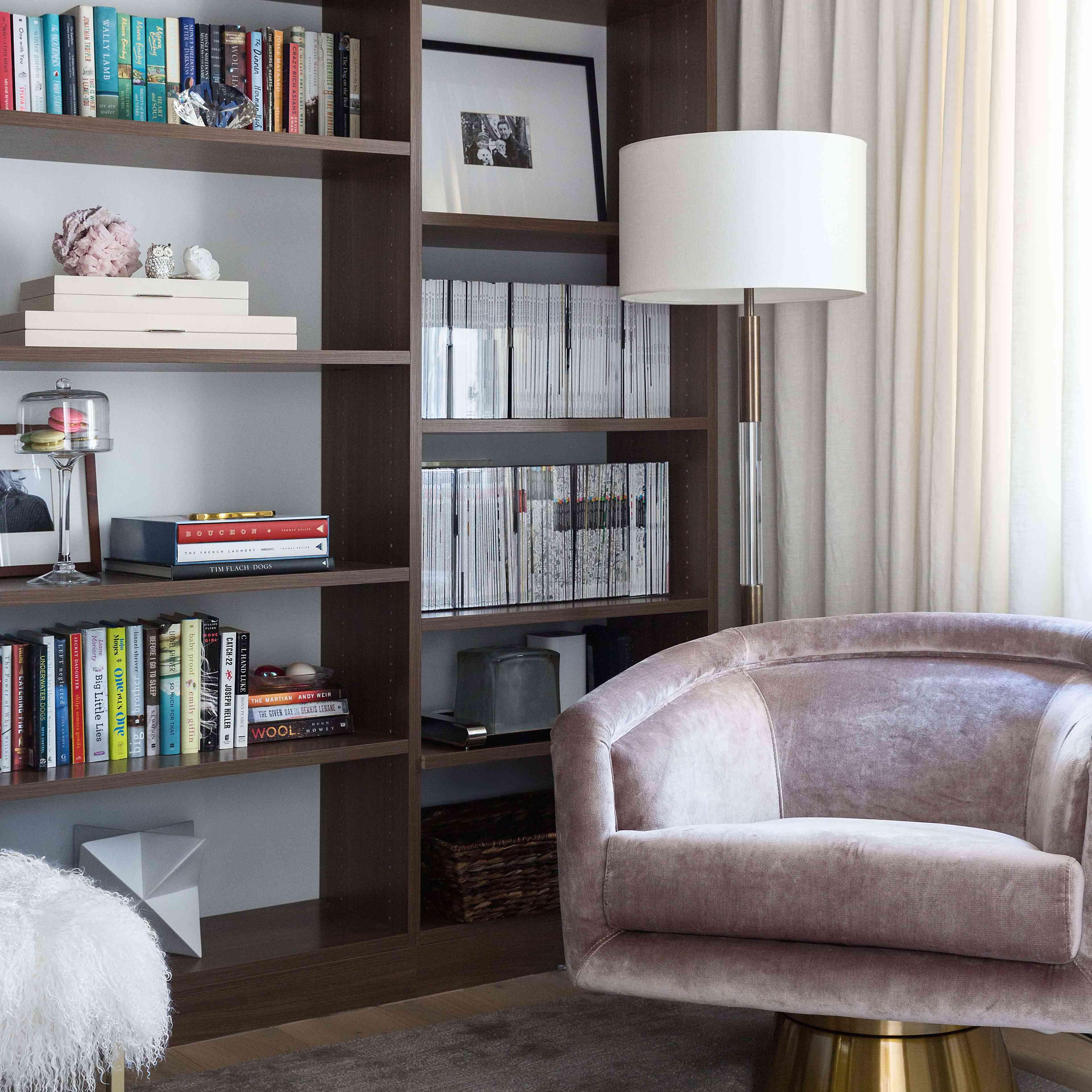 Reading room with luxe velvet armchair.