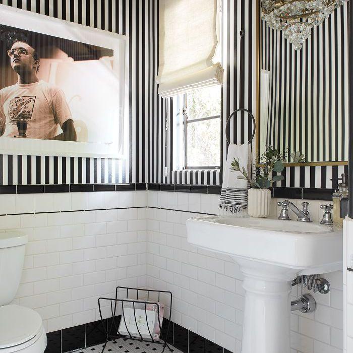 Shay Mitchell—black and white bathroom