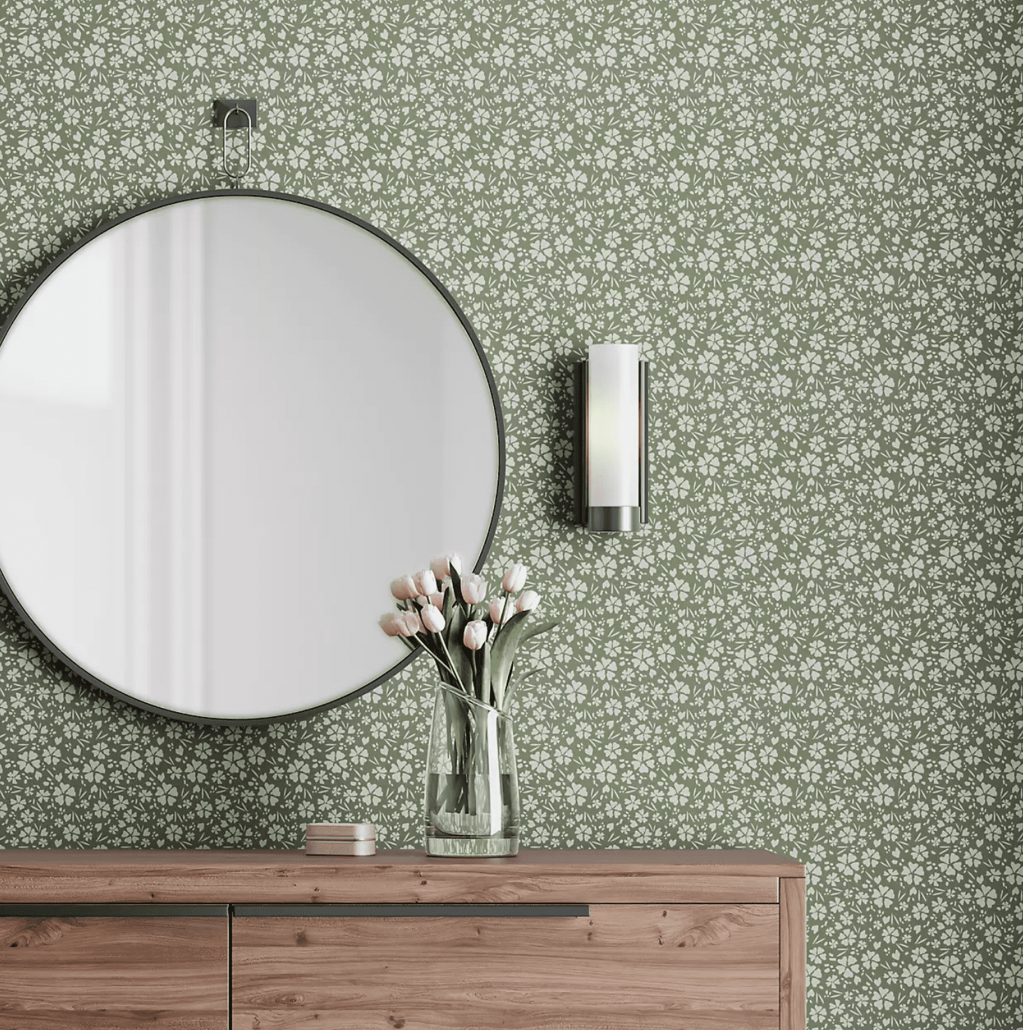 Green floral wallpaper, currently for sale at CB2
