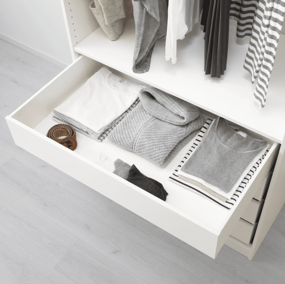 A white closet drawer you can buy at IKEA