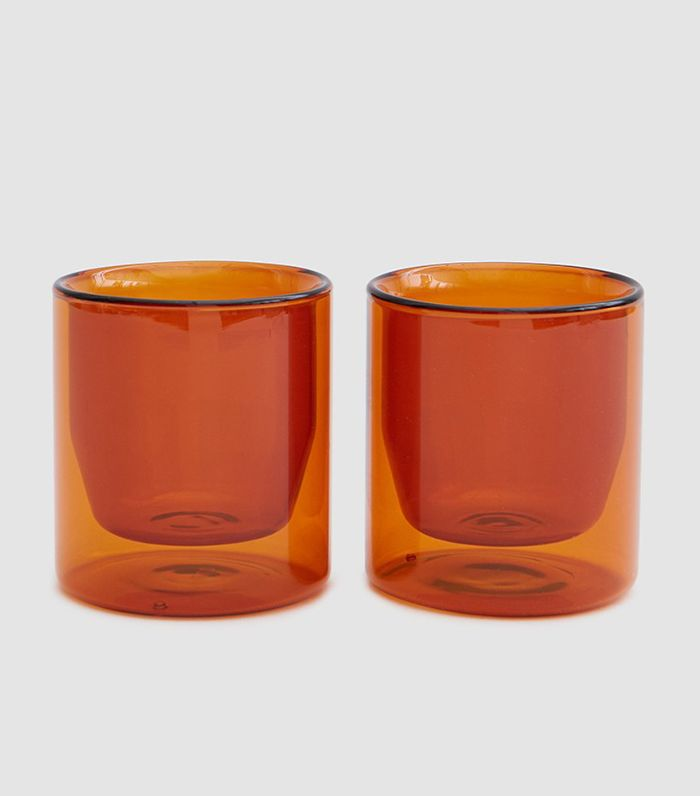 Double-Wall 6oz Glass Set of 2 Amber