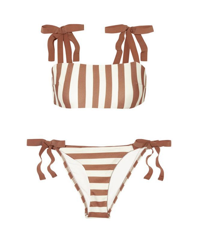 Helm Grosgrain-Trimmed Striped Bikini