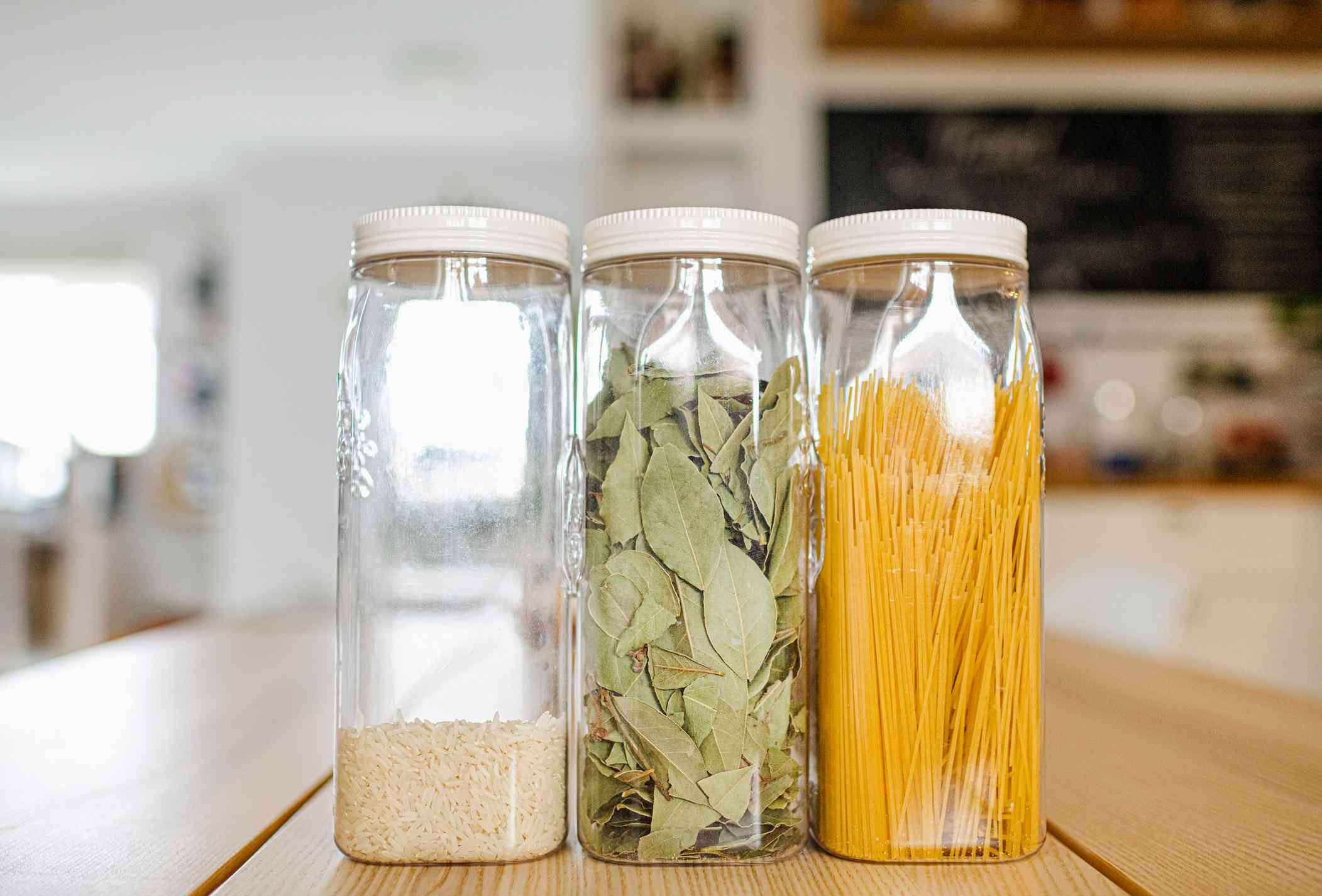 Kitchen storage containers on countertop