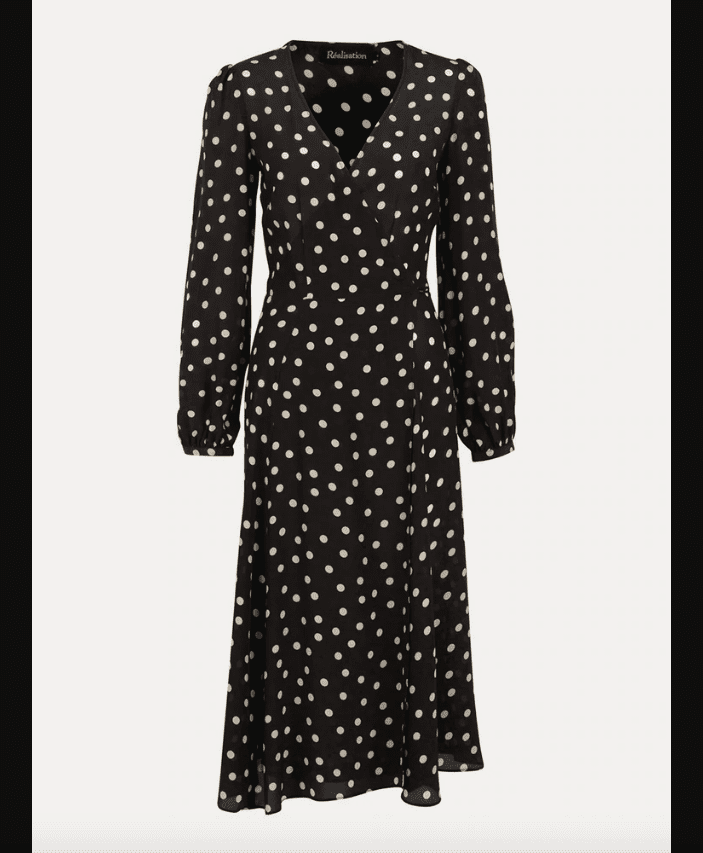 A black and white polka-dotted dress