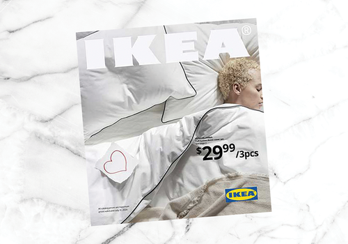 IKEA 2020 catalog cover featuring sleeping woman in white bedding.