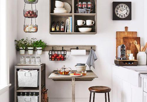 Tiny apartment kitchen.