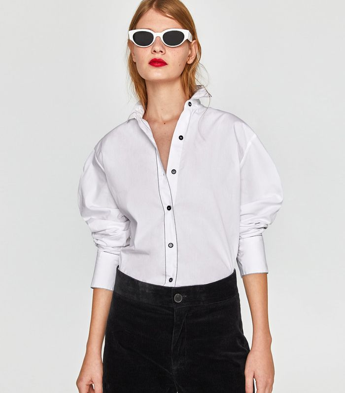 Zara Shirt With Striped Trims