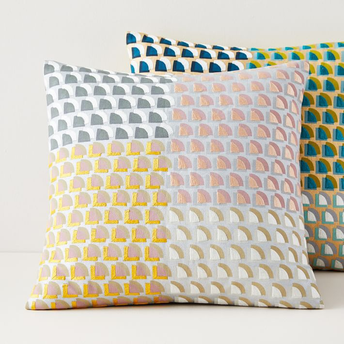 Two colorful printed pillows