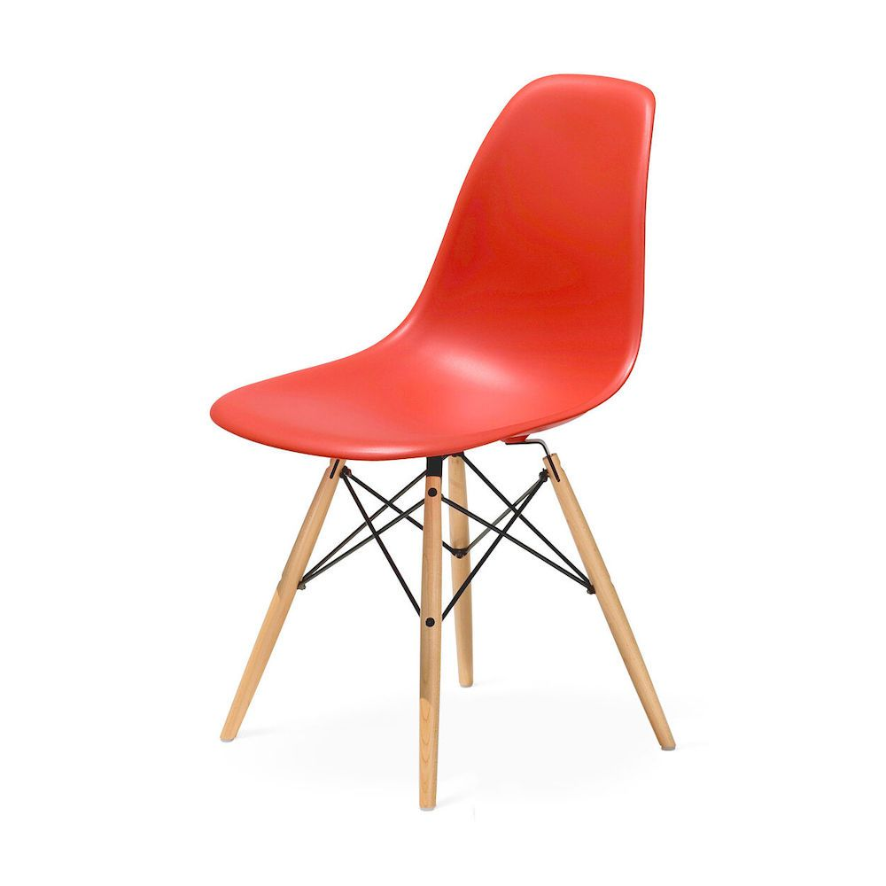 A red plastic accent chair, currently for sale at MoMA Design Store