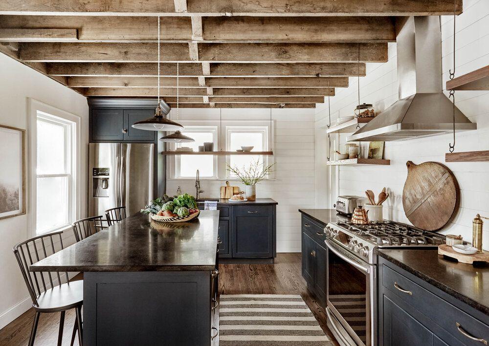 striped kitchen rug in blue kitchen