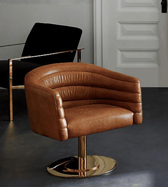 CB2 - Cupa Saddle Leather Swivel Base Chair