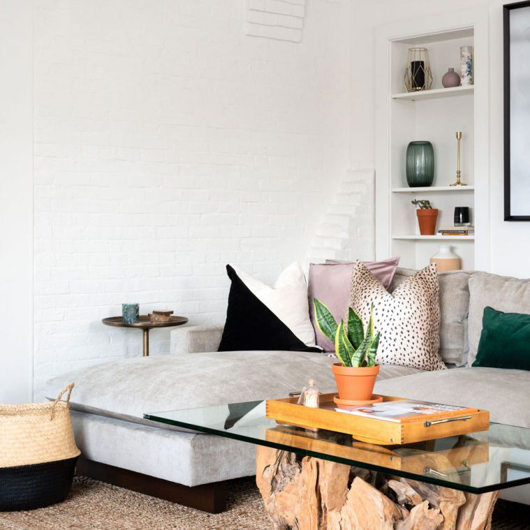 Living room with decorative throw pillows