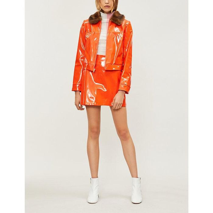 Staud Dion Cropped Patent and Faux-Fur Jacket
