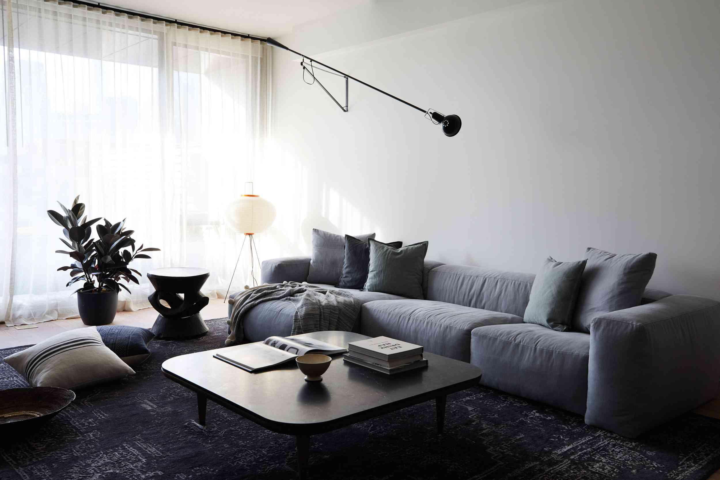 dim minimalist living room