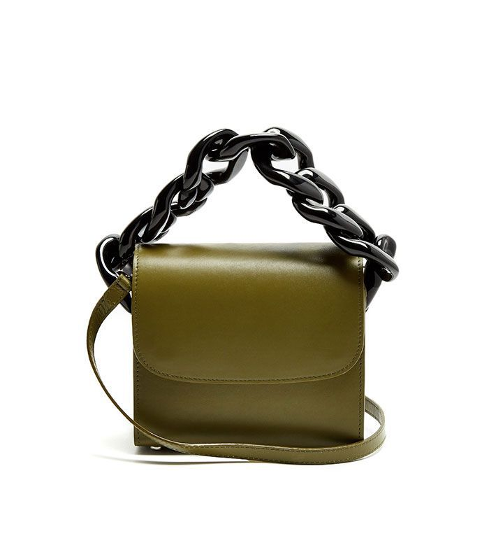 Oversized curb-chain leather shoulder bag