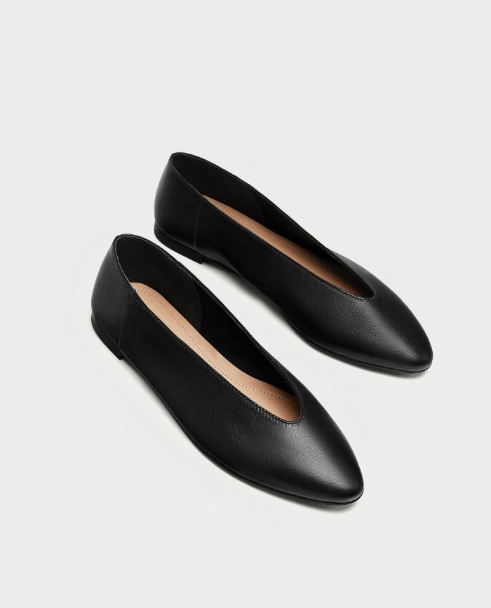 Zara V-Cut Leather Ballerinas
